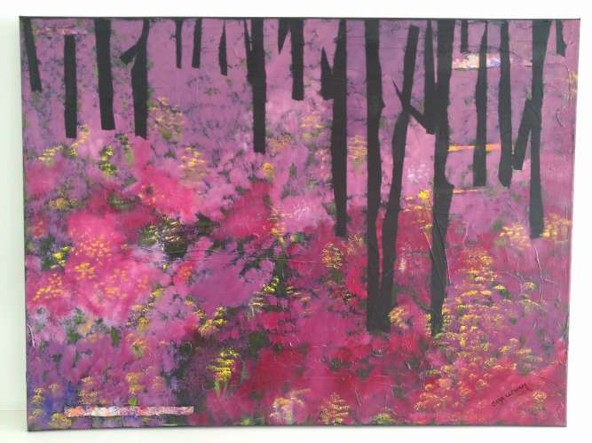 "Purple Forest, Acrylic, 24""x32"", $$105.0000"