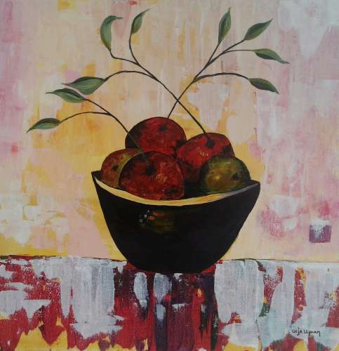 "Apple basket, Acrylic, 24""x24"", $$110.0000"