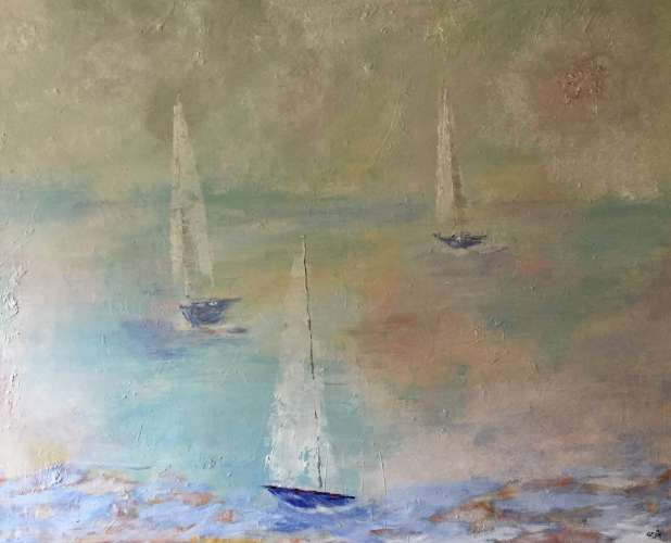 "Sail Away, Acrylic, 32""x40"", $$0.0000"