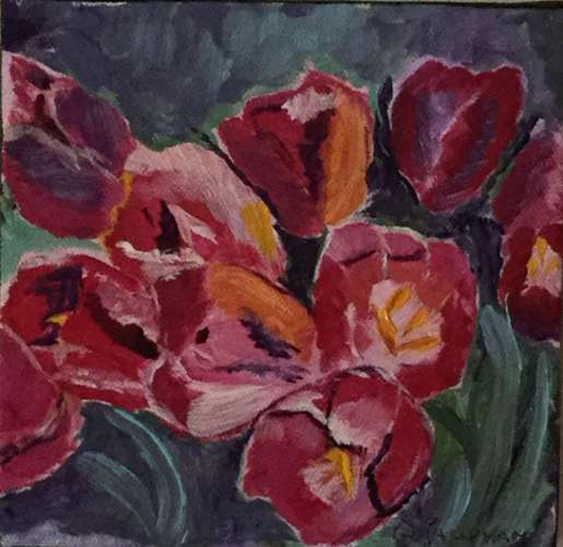 "Tulips.. red, Acrylic, 6""x6"", $$35.0000"